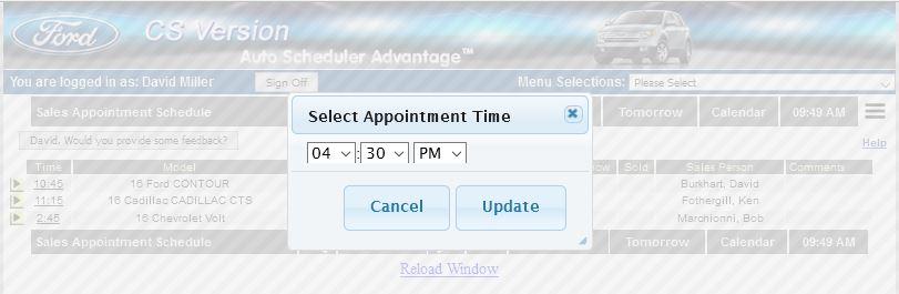Select Time for Car dealer sales appointment